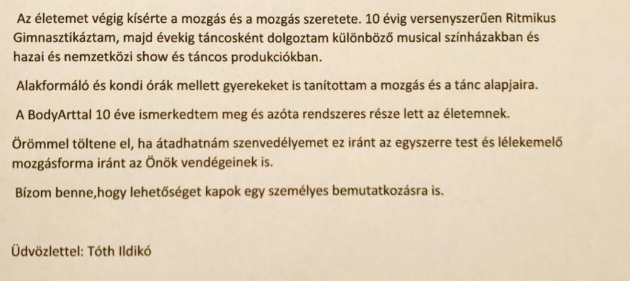 Tóth Ildikó BodyArt edző